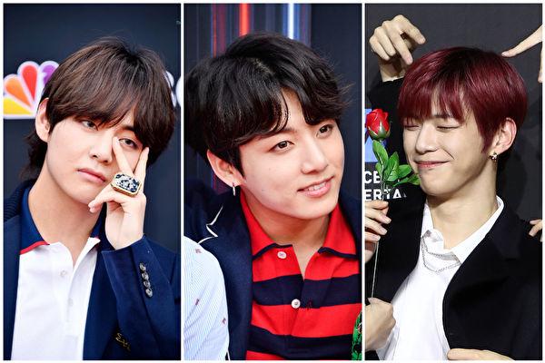 左起BTS成员V(金泰亨)、田柾国与Wanna One姜丹尼尔。(Frazer Harrison,Chung Sung-Jun/Getty Images/大纪元合成)