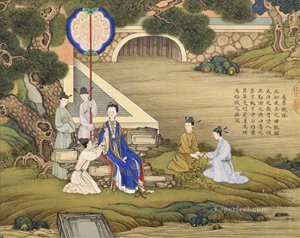 清焦秉贞《历代贤后图》册,绢本,北京故宫博物院藏。(公有领域)