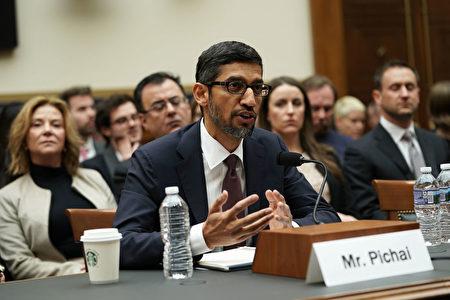 谷歌首席执行官皮查伊(Sundar Pichai)11日出席国会听证会。(Alex Wong/Getty Images)