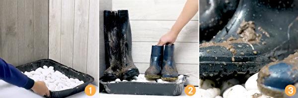 冬天鞋底容易沾上雪水,弄脏地板。把鞋子放在鹅卵石上,就可以了。