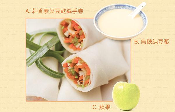 糖尿病饮食计划之早餐:蒜香素菜豆干丝手卷。