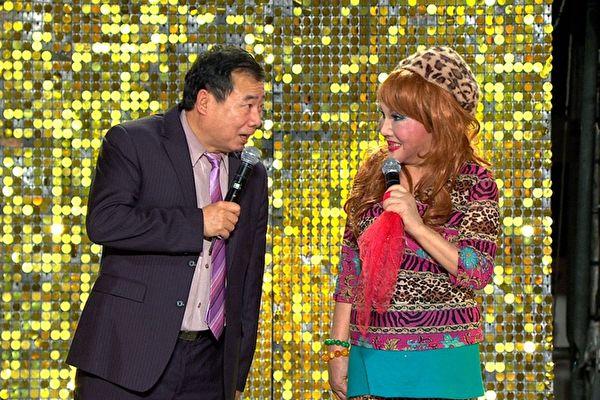 廖峻(左)与澎澎(右)亮相综艺节目资料照。