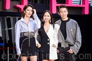 楊謹華(左起)、孫芸芸、陶喆1月10日在台北出席百貨開幕記者會。