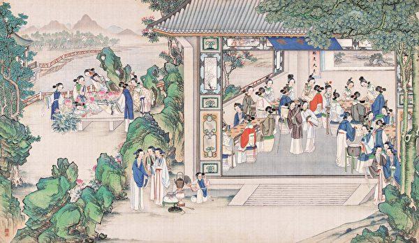清 孫溫繪《全本紅樓夢》插圖,第50回「 琉璃世界白雪紅梅 脂粉香娃割腥啖膻」。(公有領域)