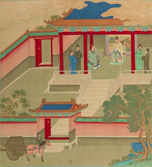 《帝鑑圖說》插圖《賓禮故人》,描繪光武帝劉秀把嚴光請進宮中,兩人推杯換盞,把酒敘舊。(公有領域)