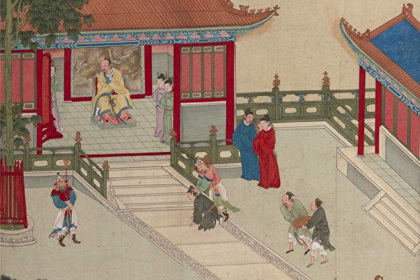 《帝鉴图说》插图《赏强项令》,描绘董宣拒不磕头认错,刘秀遂吩咐这个颈项刚直的县令出去,还赐他了三十万钱。(公有领域)