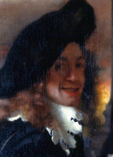 维米尔画作《老鸨》局部,后人推测可能是维米尔的自画像,布面油画,1656年作。(公有领域)