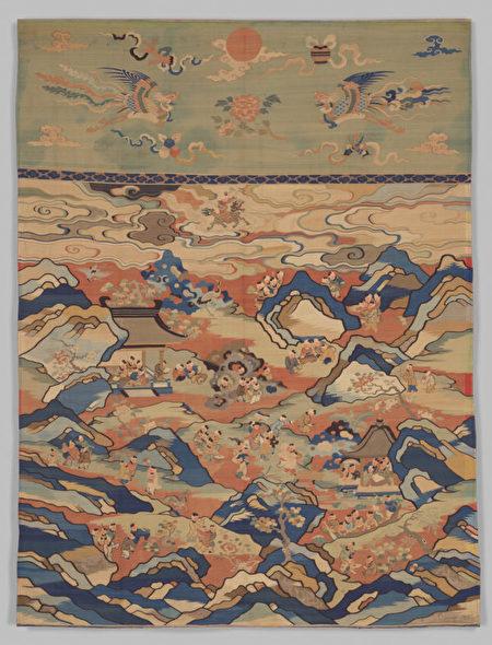 清朝緙絲百子圖,紐約大都會藝術博物館藏。(公有領域)