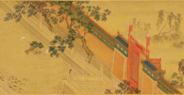 明 仇英《汉宫春晓图》卷(局部),绢本。(公有领域)