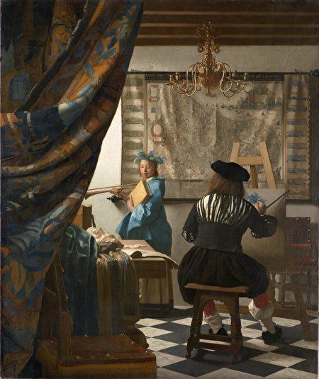 [荷] 維米爾,《繪畫的寓言》(又名《畫室》),作於1665-1667年,布面油畫,此畫一度被希特勒占有,現藏維也納藝術史博物館。(公有領域)