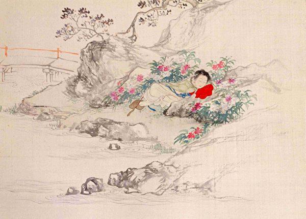 湘雲像,清費丹旭繪《十二金釵圖冊》,絹本設色,北京故宮博物院藏。(公有領域)