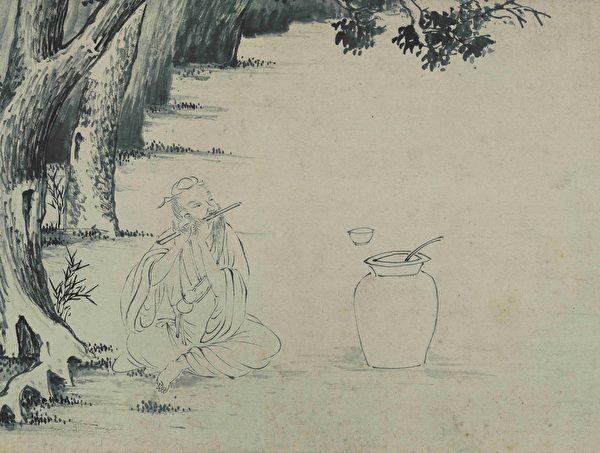 明 唐寅《临李伯时饮中八仙全图》(局部),纸本水墨,台北故宫博物院藏。(公有领域)