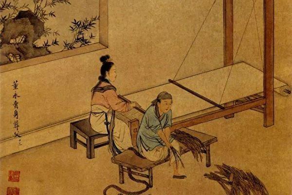 清王素繪《二十四孝圖》之《董永賣身葬父》。(公有領域)