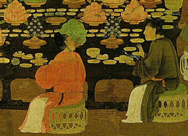 北宋 趙佶《文會圖》(局部),絹本,台北故宮博物院藏。(公有領域)