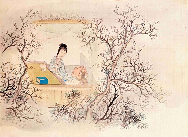 妙玉像,清费丹旭绘《十二金钗图册》,绢本设色,北京故宫博物院藏。(公有领域)
