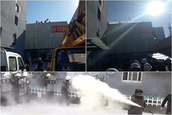 北京昌平肯特公寓险遭强拆,老妇欲跳楼抵抗。