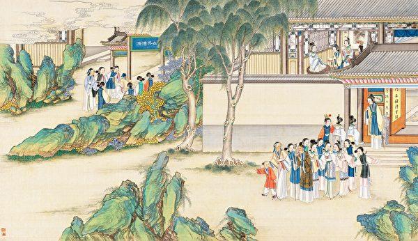 贾宝玉品茶栊翠庵,清孙温绘《红楼梦》第41回插图