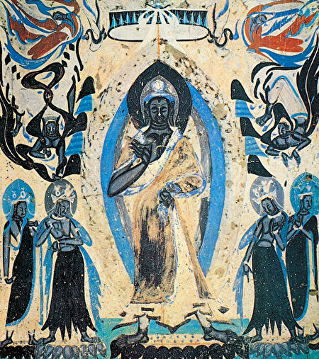 《說法圖》,敦煌249窟西魏石窟壁畫。(公有領域)