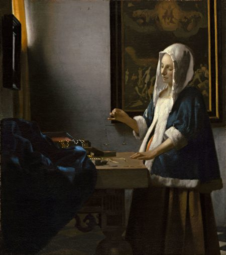 [荷] 維米爾,《持天平的女子》,作於1662–1663年,布面油畫,華盛頓國家畫廊藏。(公有領域)