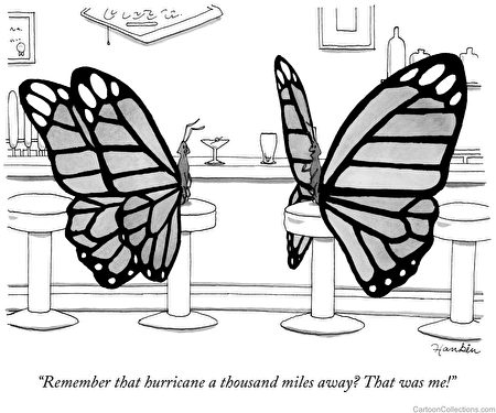 MoMath數學博物館將於明天開始一個有關數學的卡通漫畫展。此為Charlie Hankin所畫的蝴蝶效應漫畫。