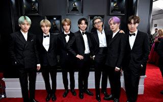 防弹少年团(BTS)出席第61届葛莱美奖颁奖典礼红毯照。(Neilson Barnard/Getty Images for The Recording Academy)