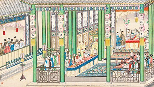 贵妃筵宴题大观园,清孙温绘《红楼梦》第18回插图。(公有领域)