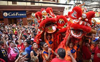 2月5日,菲律宾马尼拉中国城舞狮子庆猪年。(TED ALJIBE/AFP/Getty Images)