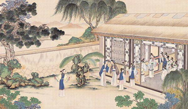 李纨像,清费丹旭绘《十二金钗图册》,绢本设色,北京故宫博物院藏。(公有领域)