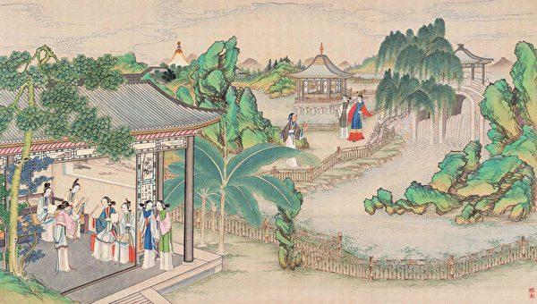 秋爽齐偶结海棠社,清孙温绘《红楼梦》第37回插图。(公有领域)