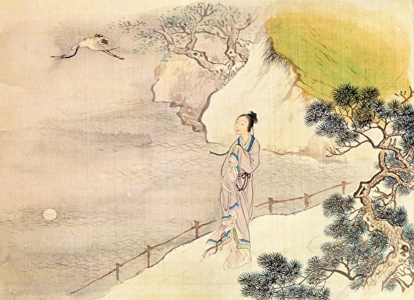 探春像,清費丹旭繪《十二金釵圖冊》,絹本設色,北京故宮博物院藏。(公有領域)