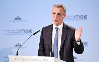 北約秘書長延斯·斯托爾滕貝格(Jens Stoltenberg)在第55屆慕尼黑安全會議的第一天發表講話。 (Tobias Hase/Getty Images)
