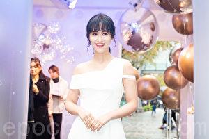吴姗儒(Sandy)3月8日在台北出席保养品记者