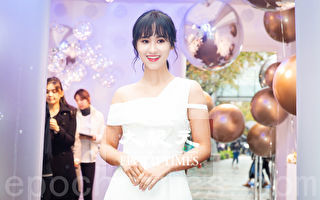 吳姍儒(Sandy)3月8日在台北出席保養品記者