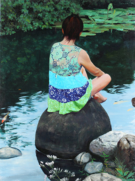 《靜 人間淨》,2011年第三屆大賽參賽作品。(新唐人全世界寫實人物油畫大賽組委會提供)