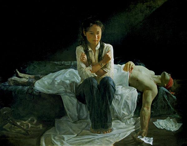 《蒙難在中原》,2008年第二屆大賽參賽作品。(新唐人全世界寫實人物油畫大賽組委會提供)