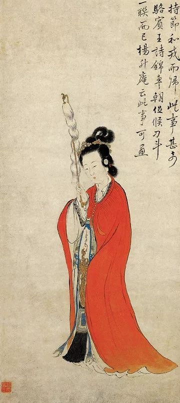 清 康涛《持节仕女图》(局部),纸本设色,浙江省博物馆藏。(公有领域)