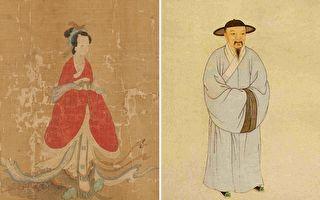 左:(传)元 管道昇《苏蕙与璇玑图》(局部),哈佛大学塞克勒艺术博物馆藏。右:赵孟頫画像,清叶衍兰绘。(公有领域)
