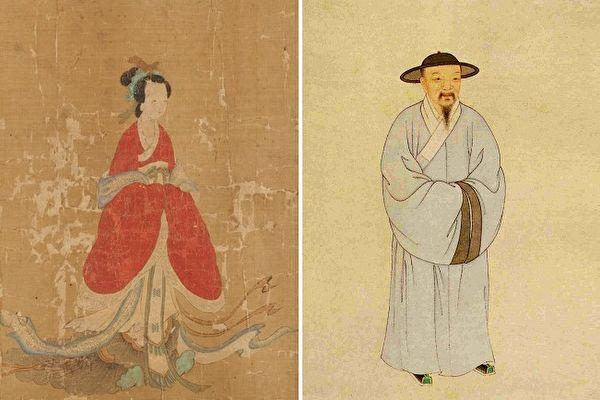 左:(傳)元 管道昇《蘇蕙與璇璣圖》(局部),哈佛大學塞克勒藝術博物館藏。右:趙孟頫画像,清葉衍蘭繪。(公有領域)