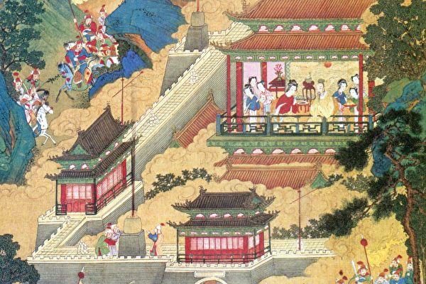 图为《帝鉴图说》插图《周幽王烽火戏诸侯》。(公有领域)
