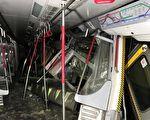 3月18日凌晨,港鐵在進行測試新信號系統期間,中環至金鐘站有兩列車相撞,共3卡車廂損毀,一名車長右腳受傷。(港鐵提供)