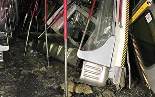 3月18日凌晨,港铁在进行测试新信号系统期间,中环至金钟站有两列车相撞,共3卡车厢损毁,一名车长右脚受伤。(港铁提供)