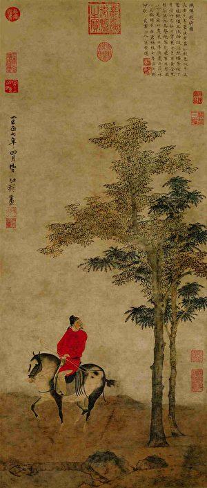赵孟頫管道昇次子赵雍所作《挟弹游骑图》。(公有领域)
