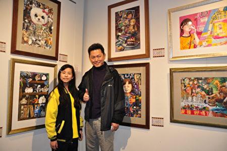 竹北國中家長陳先生說,對孩子的興趣和選擇一定會全力支持,陳先生和孩子在作品前開心合影