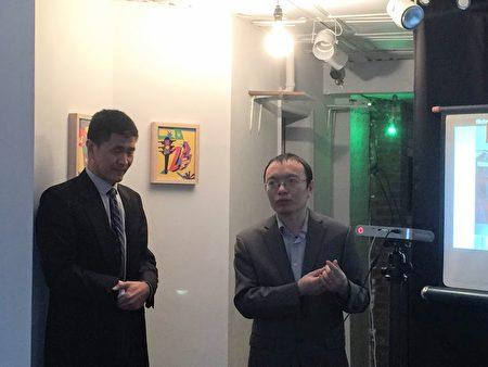「中國民主教育基金會」理事陳闖創(右)在昨天的活動上發言,左為「人道中國」負責人周鋒鎖。