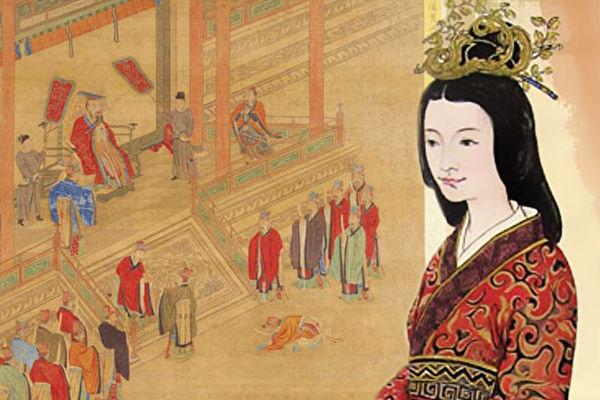 右:東漢光武帝皇后陰麗華像;左:漢光武錫封褒德,取自清陳書繪《歷代帝王道統圖冊》。(《品位生活》雜誌提供)