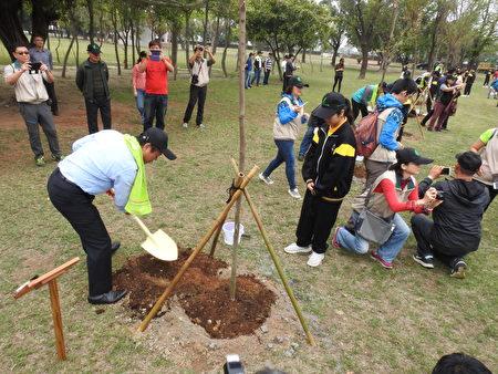 嘉義縣長翁章梁(鏡頭前植樹者)在義竹國中校園親手植下一株台灣櫸。