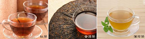 媲美咖啡的提神醒脑茶:红茶、普洱茶、薄荷茶。(Shutterstock)