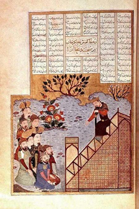 14世紀的波斯細密畫,描繪成吉思汗將帝國分給自己的幾個兒子。(公有領域)