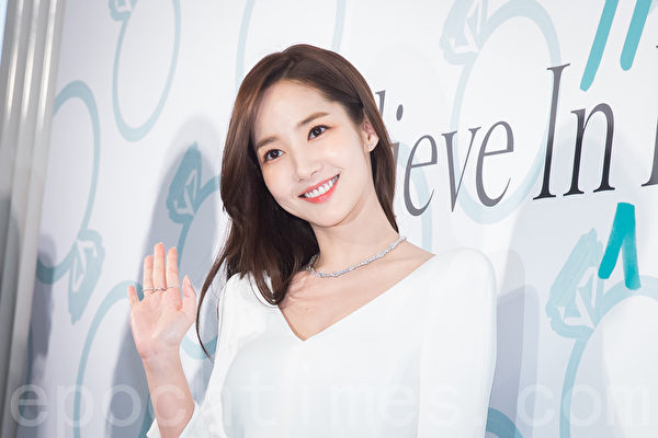 韓國人氣女星朴敏英2月15日訪台出席活動資料照。(陳柏州/大紀元)