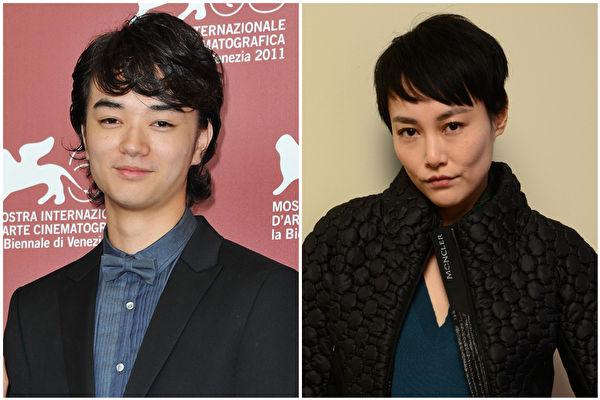 染谷將太(左)與菊地凛子(右)於2015年1月1日發表婚訊。(Pascal Le Segretain,Larry Busacca/Getty Images,大紀元合成)